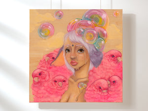 """Party Girl"" 12x12 Bamboo Mounted Print"