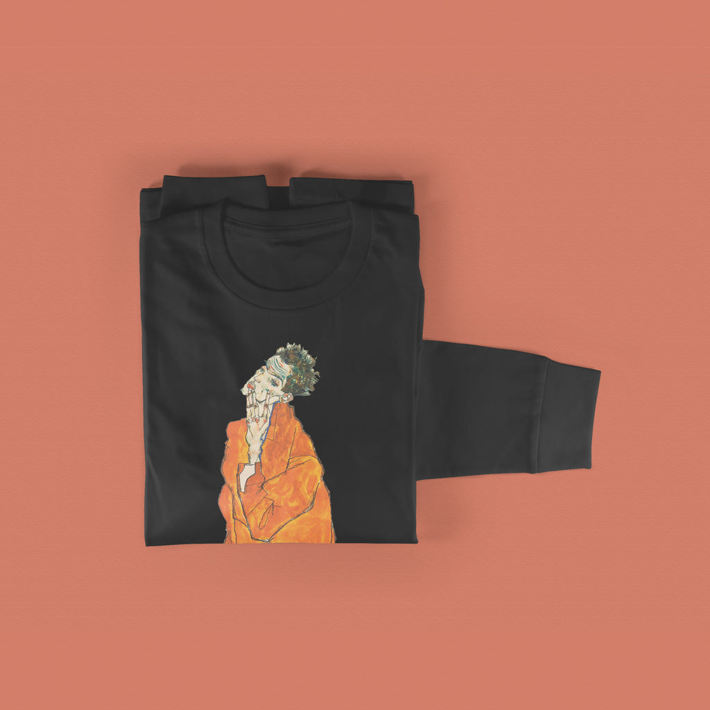 Egon Schiele Sweatshirt - Standing Man in Orange Coat