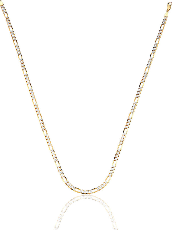 #12294 -  14K Solid Gold Figaro Chain in Two-Tone