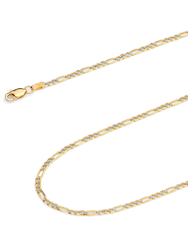 #12718 - 14K Solid Gold  Figaro Chain in Two-Tone