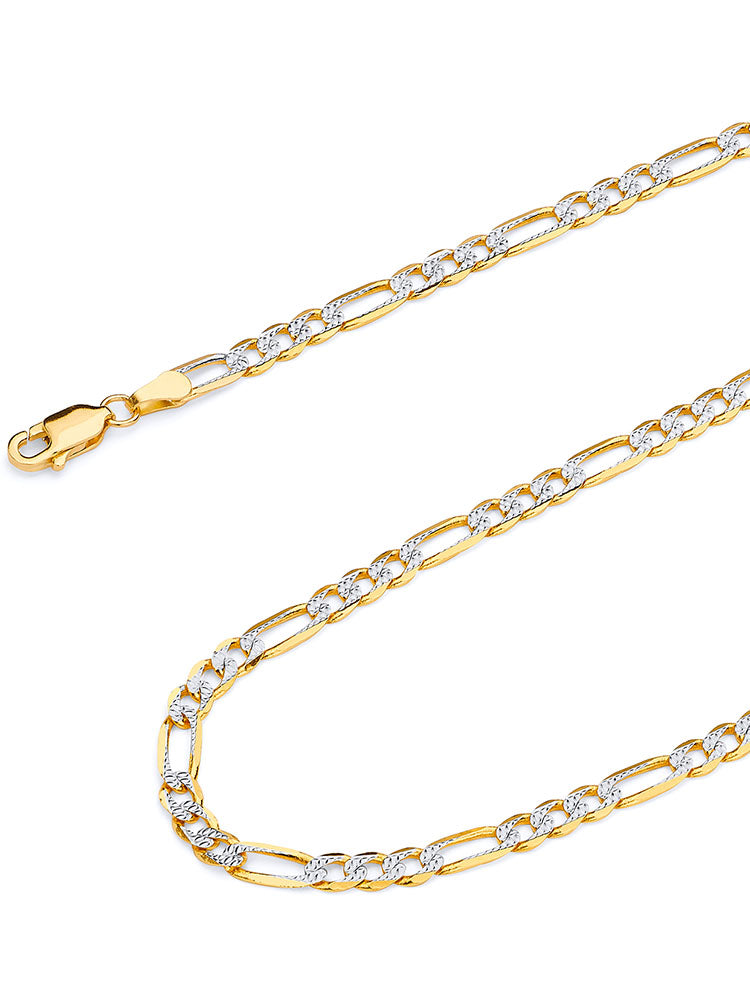 #12720 - 14K Solid Gold  Figaro Chain in Two-Tone