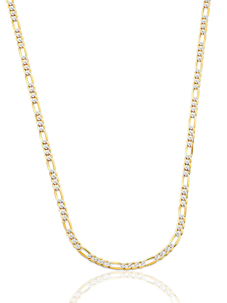#12722 - 14K Solid Gold Figaro Chain in Two-Tone Gold