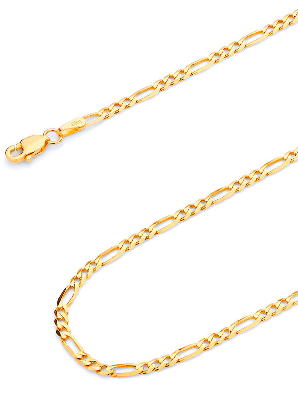 #12842 - 14K Solid Gold Figaro Chain
