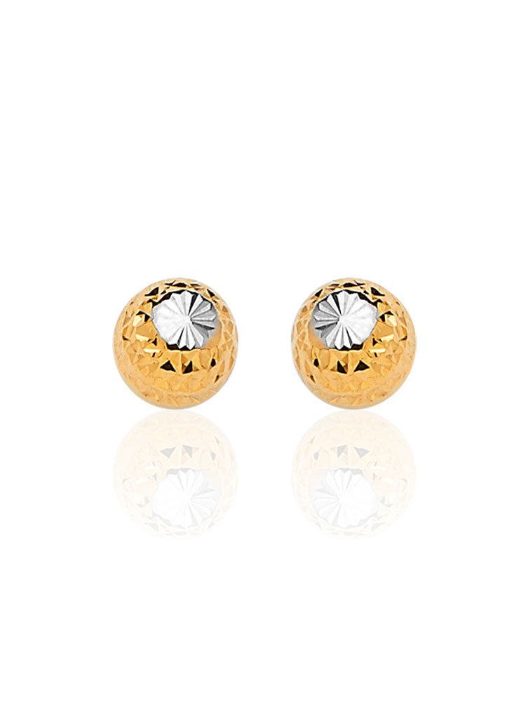 #13684 - 14K Solid Gold Gold Ball Stud Earrings in Two-Tone and Butterfly Backing