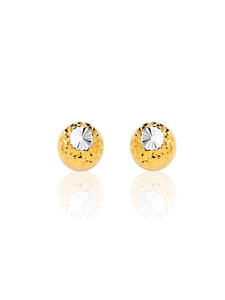 #13685 - 14K Solid Gold Gold Ball Stud Earrings in Two-Tone and Butterfly Backing
