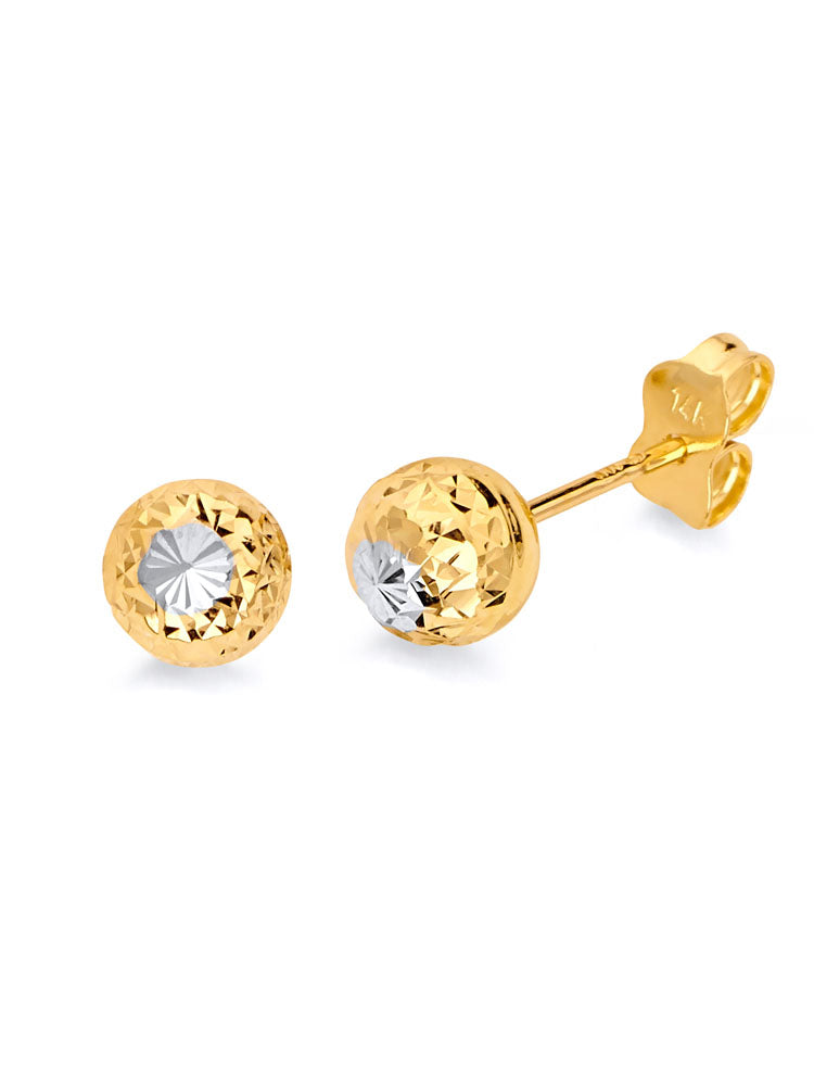 #13686 - 14K Solid Gold Ball Stud Earrings in Two-Tone and Butterfly Backing