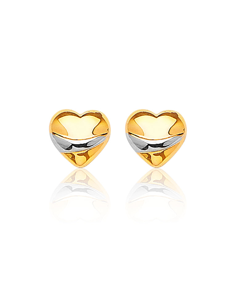 #16948 - 14K Solid Gold Heart Stud Earrings in 14K Two-Tone and Butterfly Backing