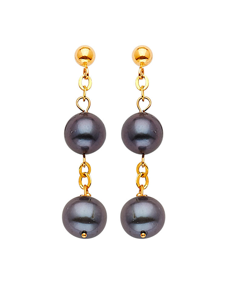 #17449 - 14K Solid Gold Drop Earrings with Black Pearl and Butterfly Backing