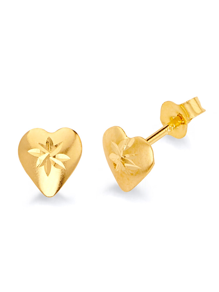 #17539 - 14K Solid Gold Heart Stud Earrings with Butterfly Backing