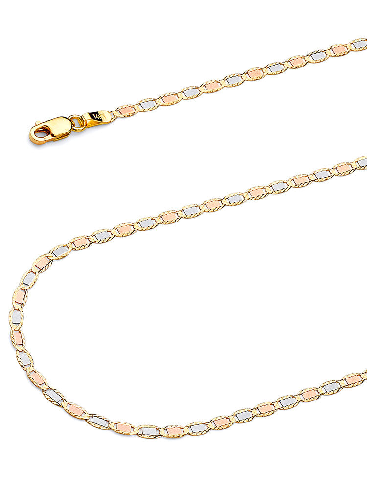 #17934 - 14K Solid Gold Valentino Chain in Tri-Color