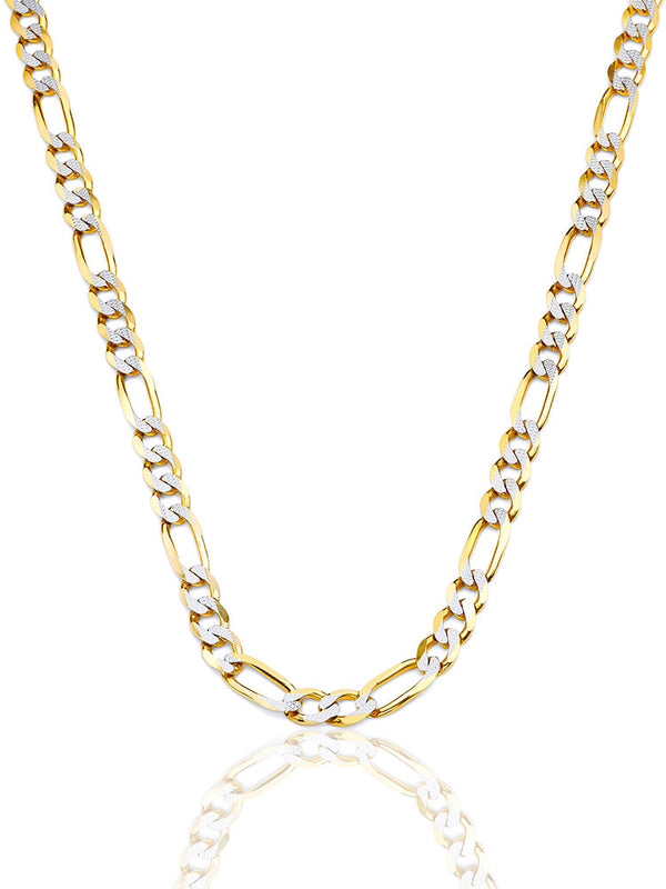 #17997 - 14K Solid Gold Figaro Chain in Two-Tone Gold