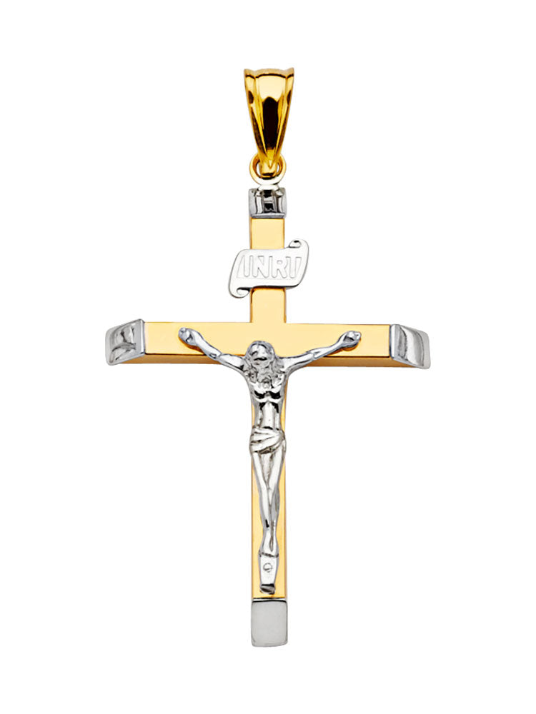 #18517 - 14K SOLID GOLD TWO-TONE CRUCIFIX PENDANT