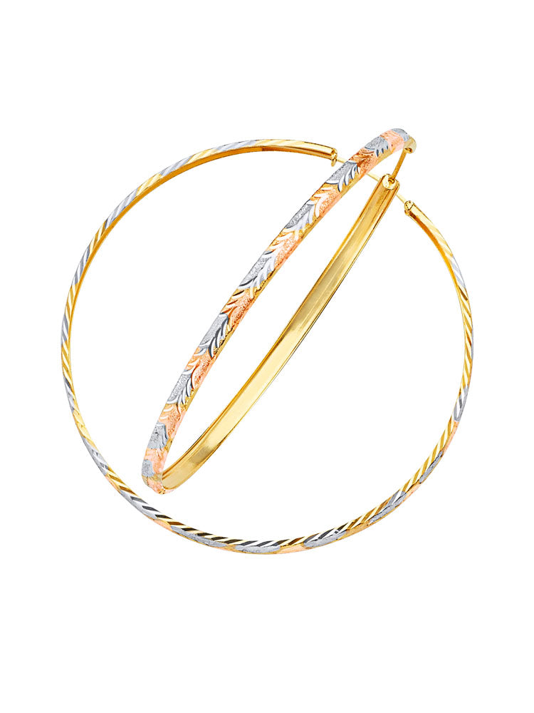 #201410 - 14K Solid Gold Tri-Color Hoop Earrings