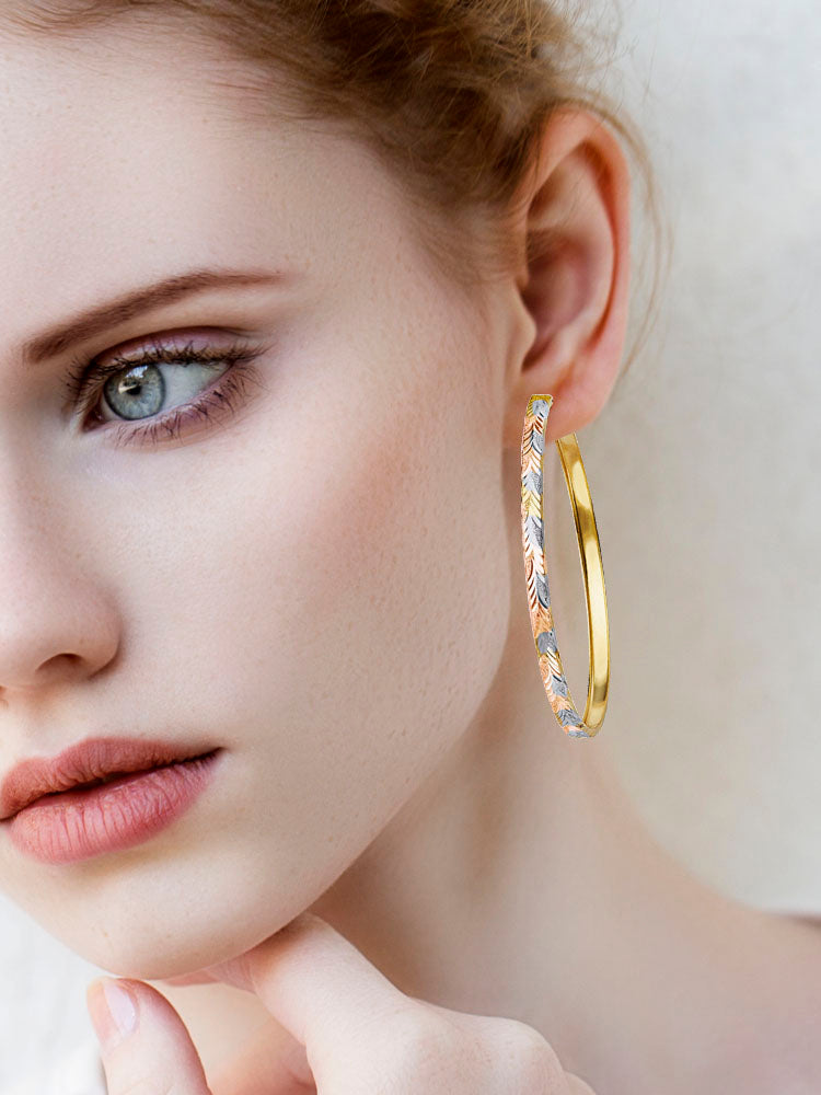 #201411 - 14K Solid Gold Tri-Color Hoop Earrings