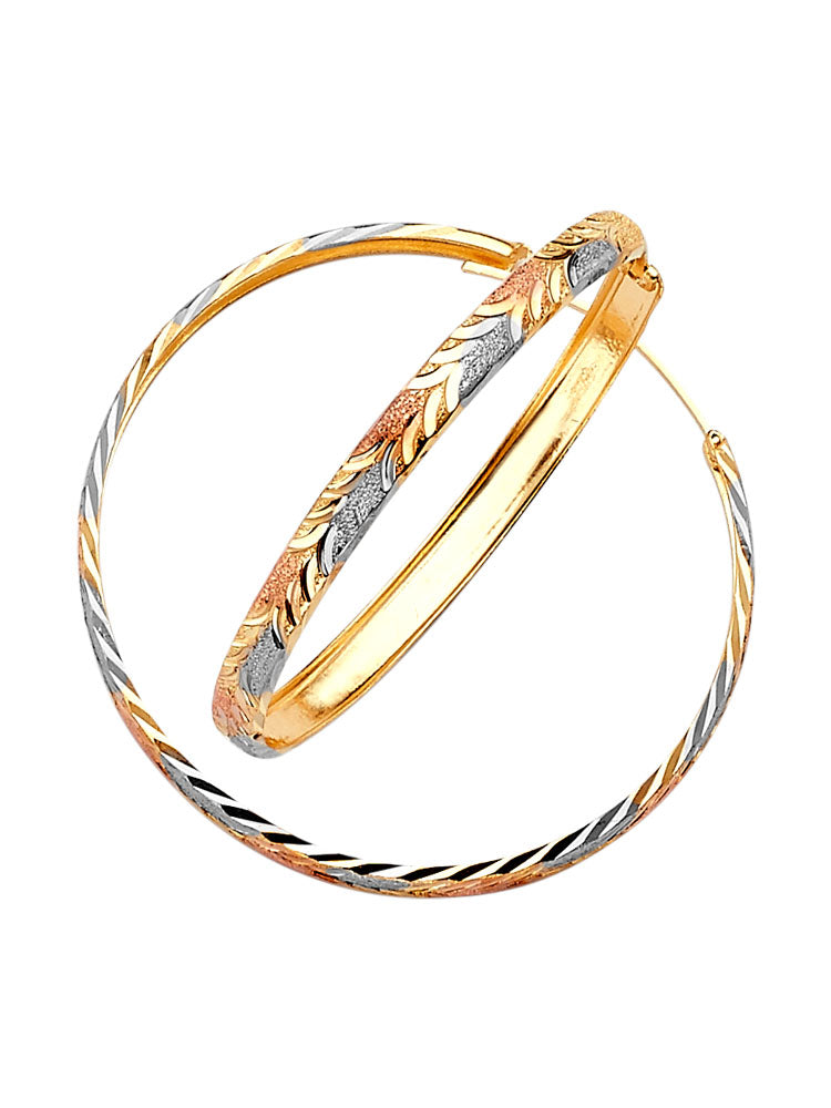 #201413 - 14K Solid Gold Tri-Color Hoop Earrings