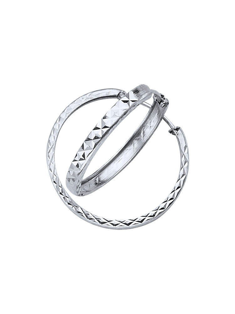 #201444 - 14K Solid White Gold Hoop Earrings