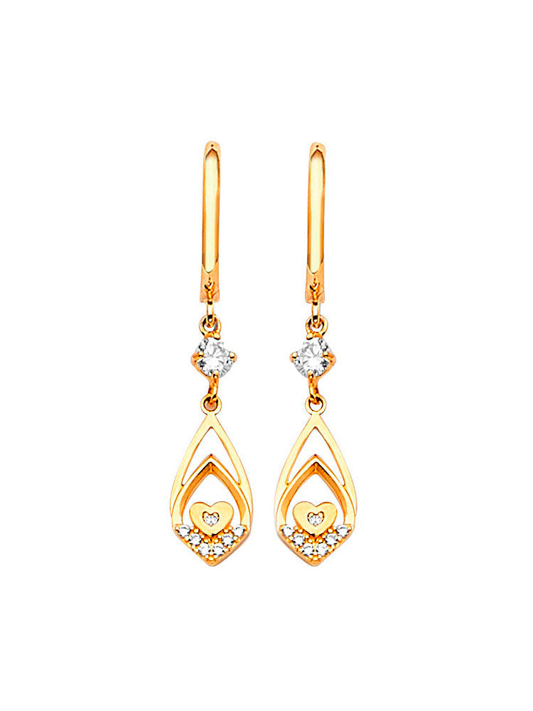 #202567 - 14K Solid Gold Heart Design Drop Earrings with High Quality White CZ Stones