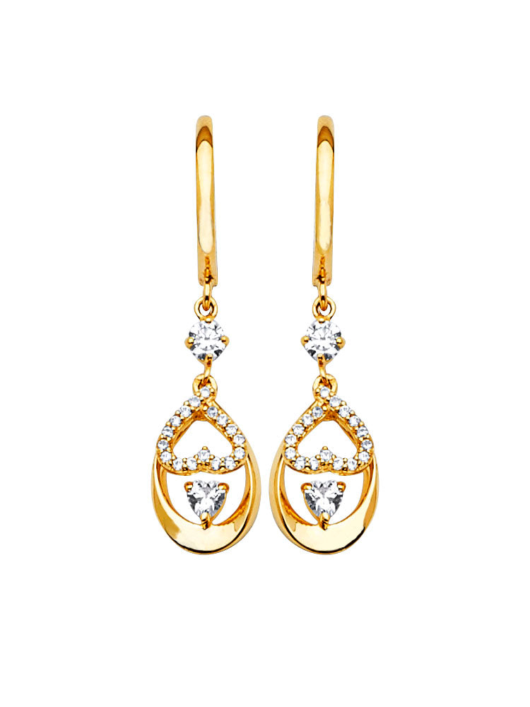 #202568 - 14K Solid Gold Butterfly Design Drop Earrings with High Quality White CZ Stones