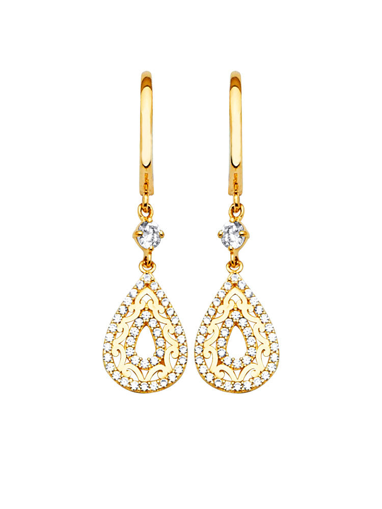 #202569 - 14K Solid Gold Drop Earrings with White CZ