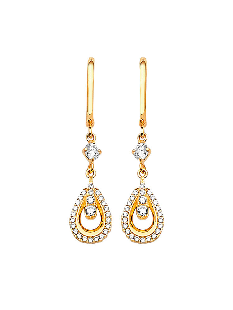 #202570 - 14K Solid Gold Drop Earrings with White CZ