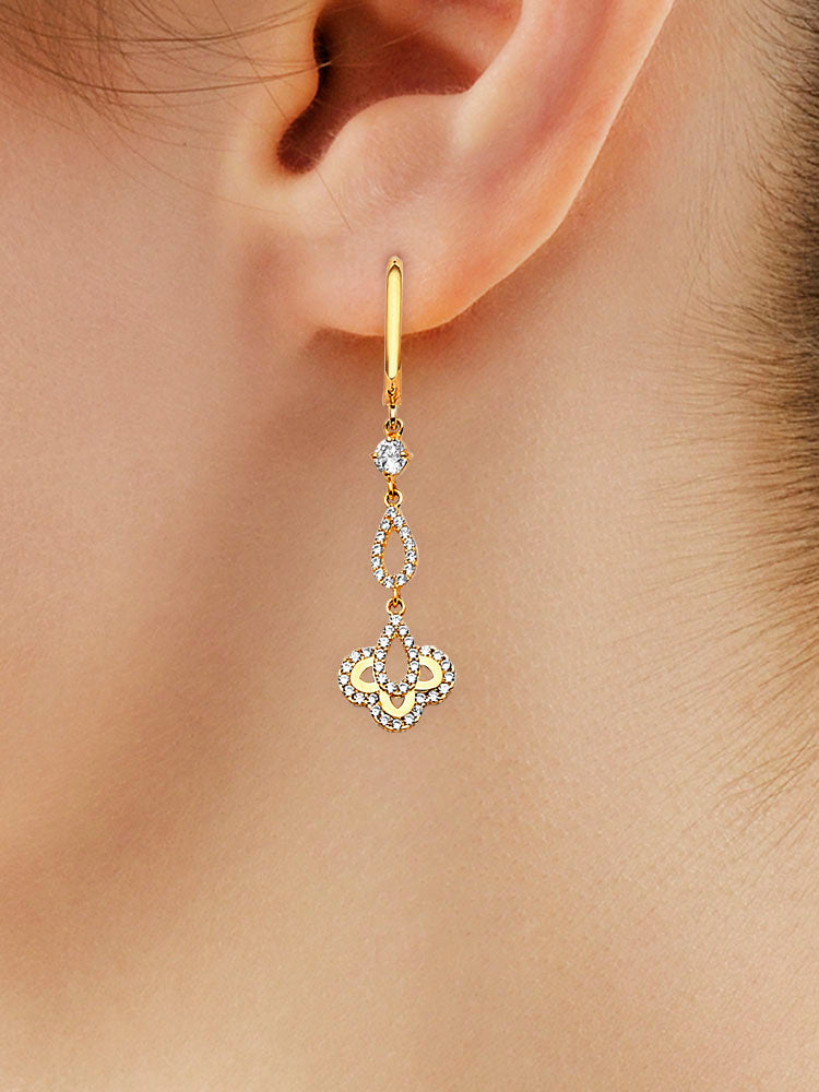 #202571 - 14K Solid Gold Drop Earrings with White CZ