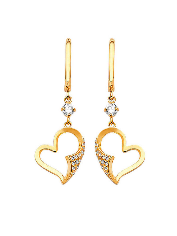 #202573 - 14K Solid Gold Heart Design Drop Earrings with High Quality White CZ Stones