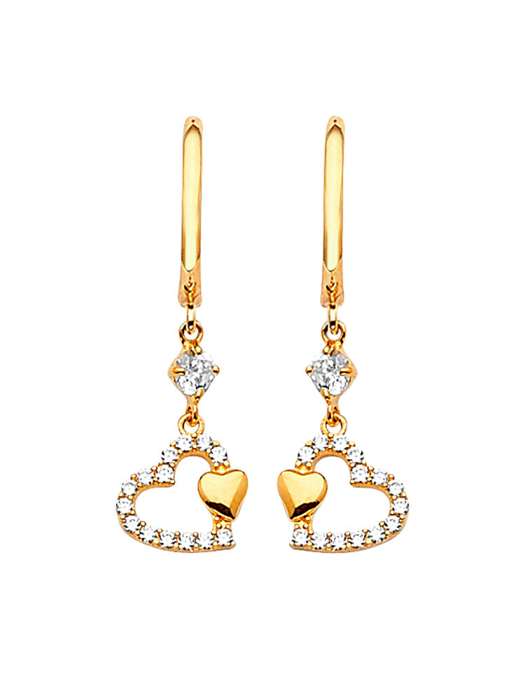 #202574 - 14K Solid Gold Heart Drop Earrings with White CZ