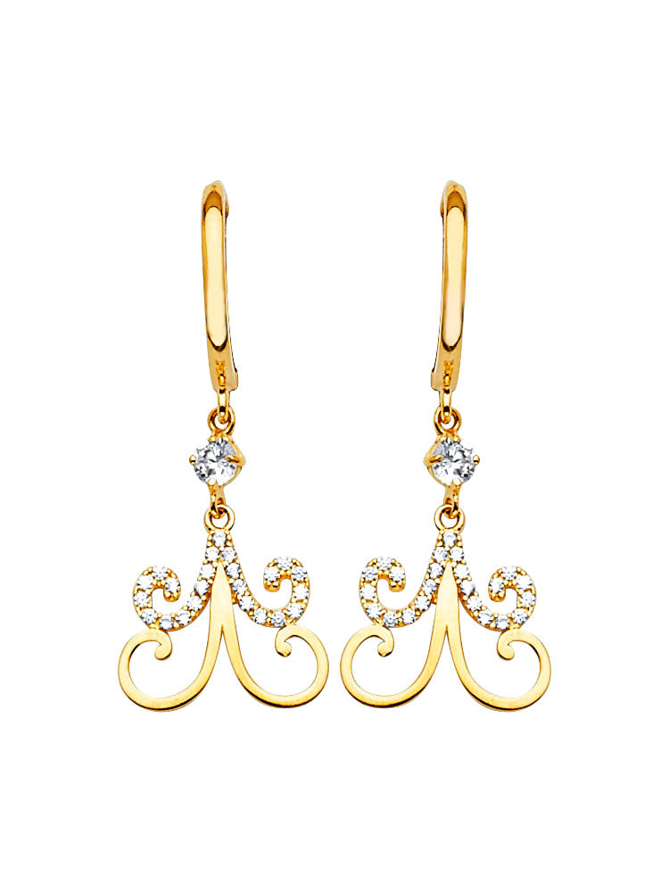 #202576 - 14K Solid Gold Drop Earrings with White CZ