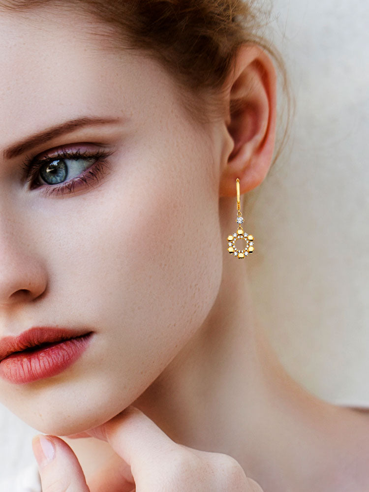 #202577 - 14K Solid Gold Drop Earrings with White CZ