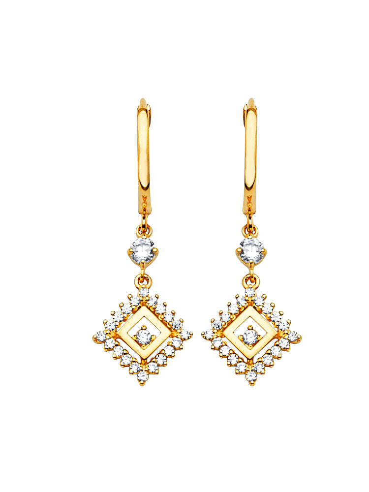 #202578 - 14K Solid Gold Drop Earrings with White CZ