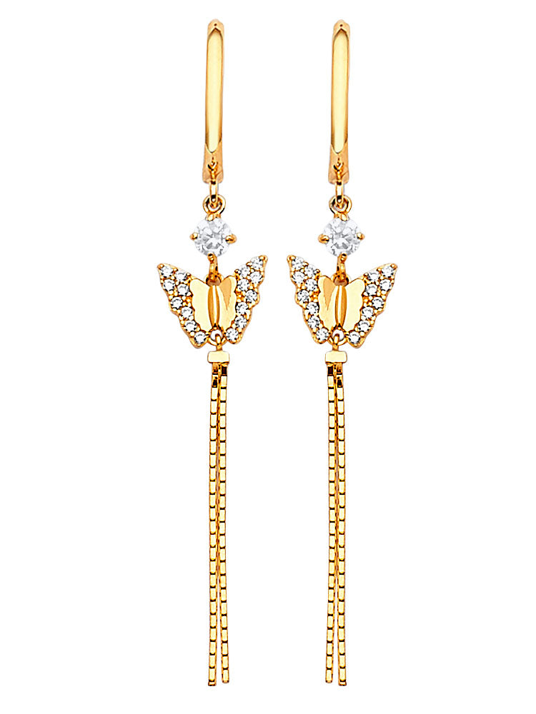 #202581 - 14K Solid Gold Butterfly Tassel Earrings with White CZ