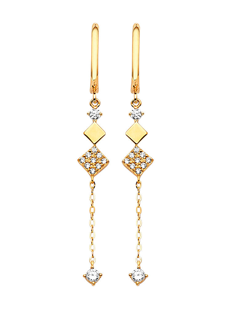 #202582 - 14K Solid Gold Drop Earrings with White CZ