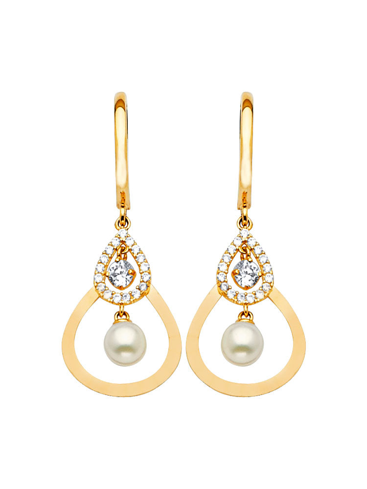 #202583 - 14K Solid Gold Drop Earrings with White CZ and Pearl