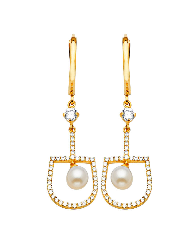 #202584 - 14K Solid Gold Drop Earrings with White CZ and Pearl