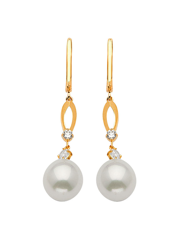 #202586 - 14K Solid Gold Drop Earrings with White CZ and Pearl
