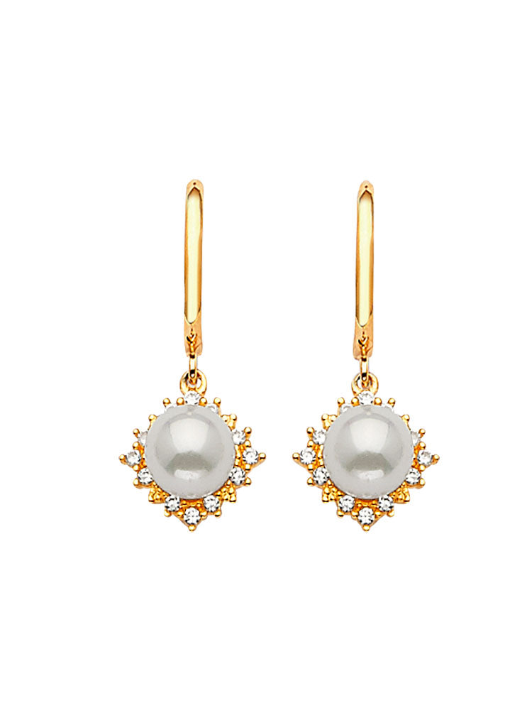 #202588 - 14K Solid Gold Drop Earrings with White CZ and Pearl