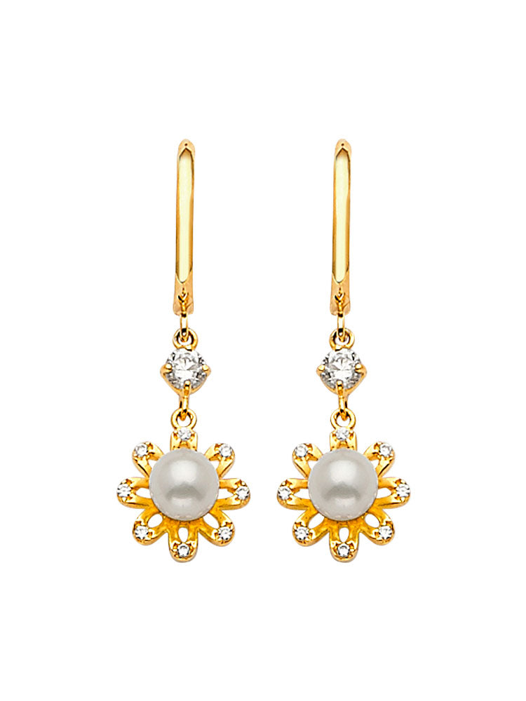 #202589 - 14K Solid Gold Drop Earrings with White CZ and Pearl