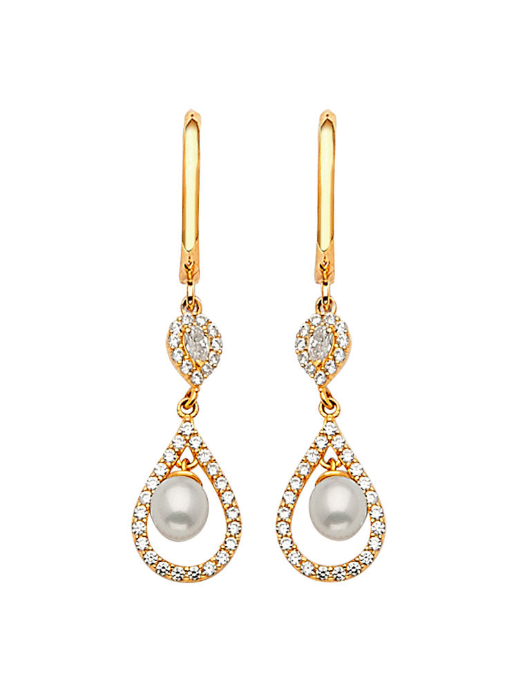 #202590 - 14K Solid Gold Drop Earrings with White CZ and Pearl