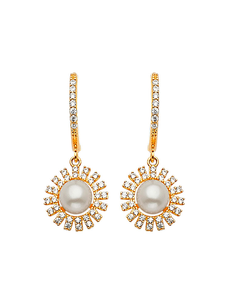 #202591 - 14K Solid Gold Drop Earrings with White CZ and Pearl