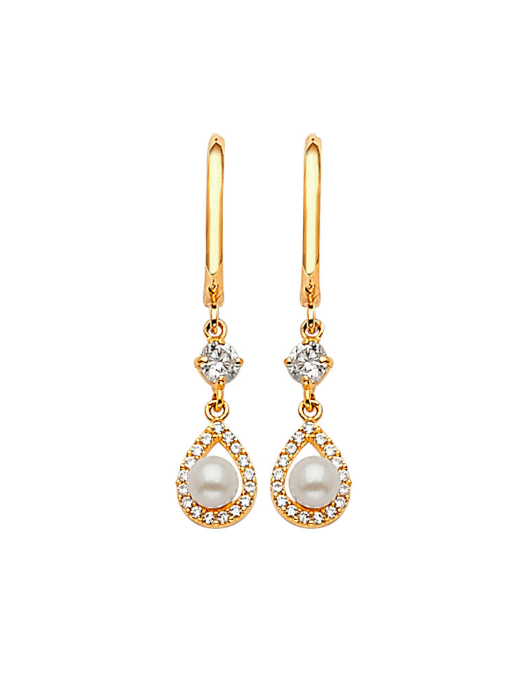 #202592 - 14K Solid Gold Drop Earrings with White CZ and Pearl