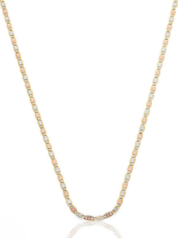 #202944 - 14K Solid Gold Valentino Chain in Tri-Color Gold