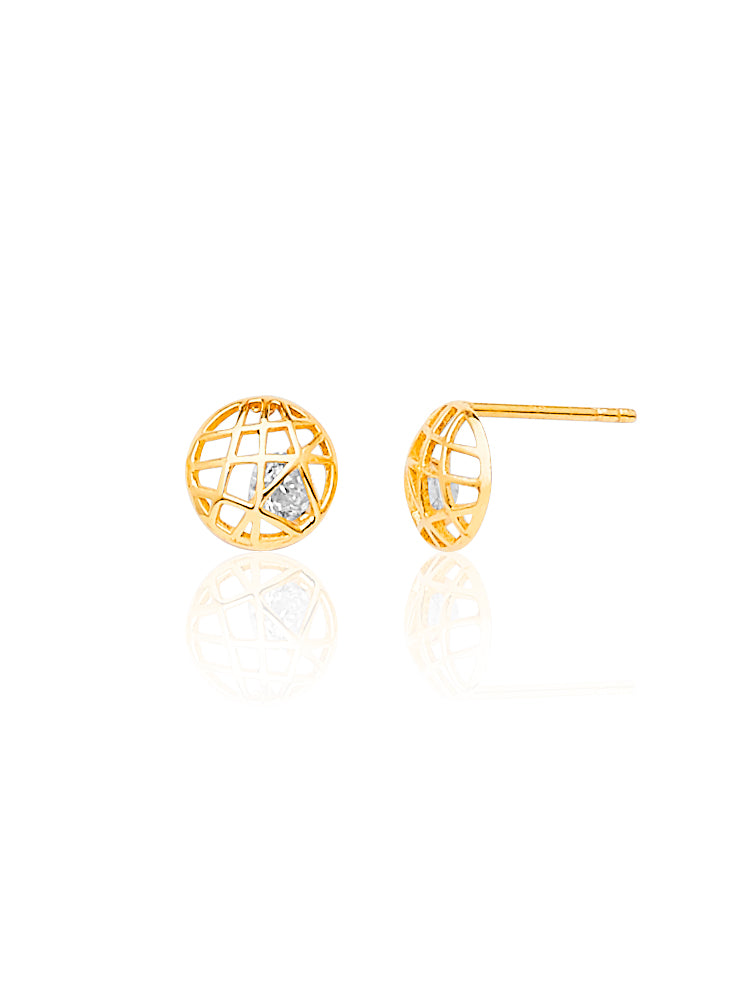 #204443 - 14K Solid Gold Stud Earrings with Butterfly Backing