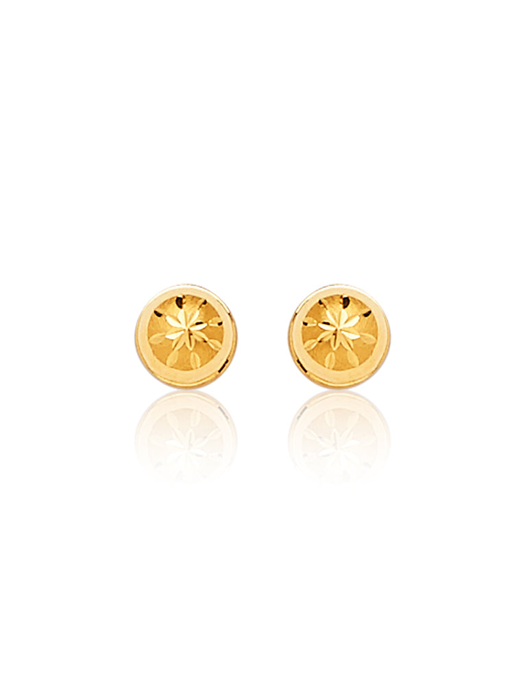 #22879 - 14K Solid Gold Ball Stud Earrings in Butterfly Backing