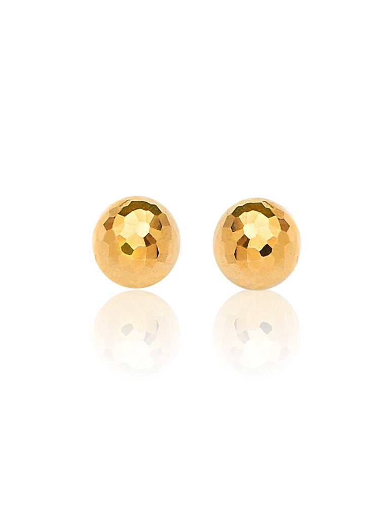 #23807 - 14K Solid Gold Ball Stud Earrings in Butterfly Backing