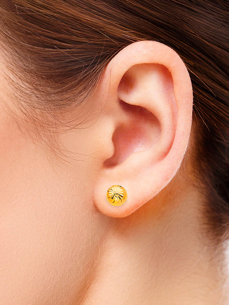 #25123 - 14K Solid Gold Ball Stud Earrings with Butterfly Backing