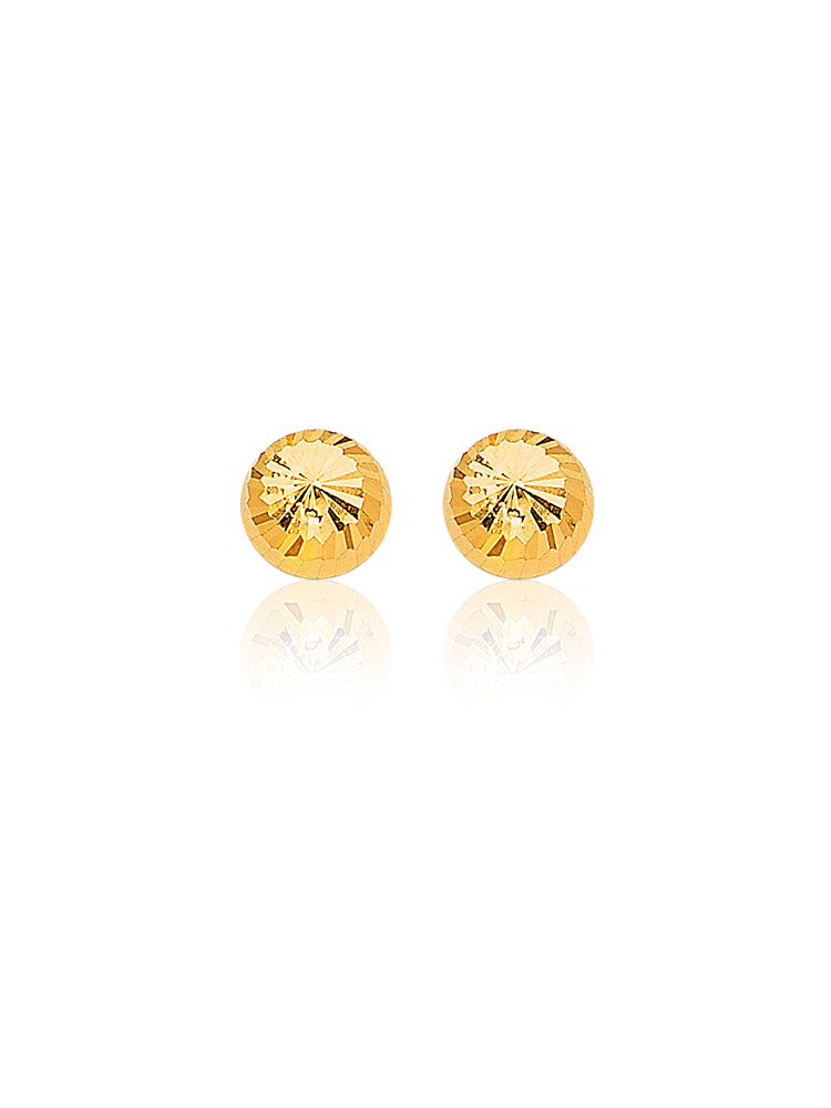 #25124 - 14K Solid Gold Ball Stud Earrings with Butterfly Backing
