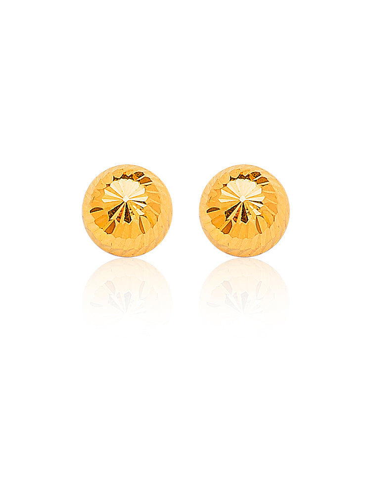 #25126 - 14K Solid Gold Ball Stud Earrings with Butterfly Backing