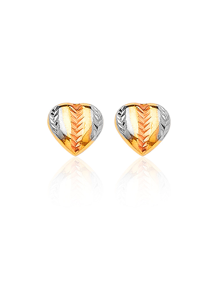 #25130 - 14K Solid Gold Tri-Color Heart Design Stud Earrings with Butterfly Backing