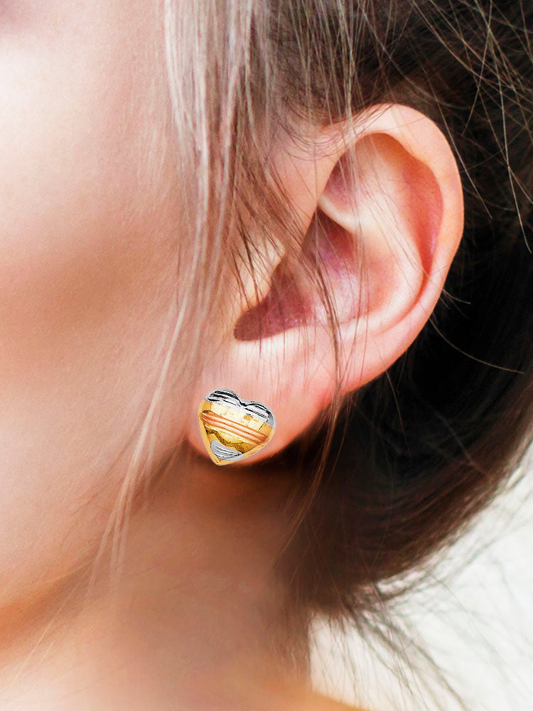 #25131 - 14K Solid Gold Tri-Color Heart Design Stud Earrings with Butterfly Backing