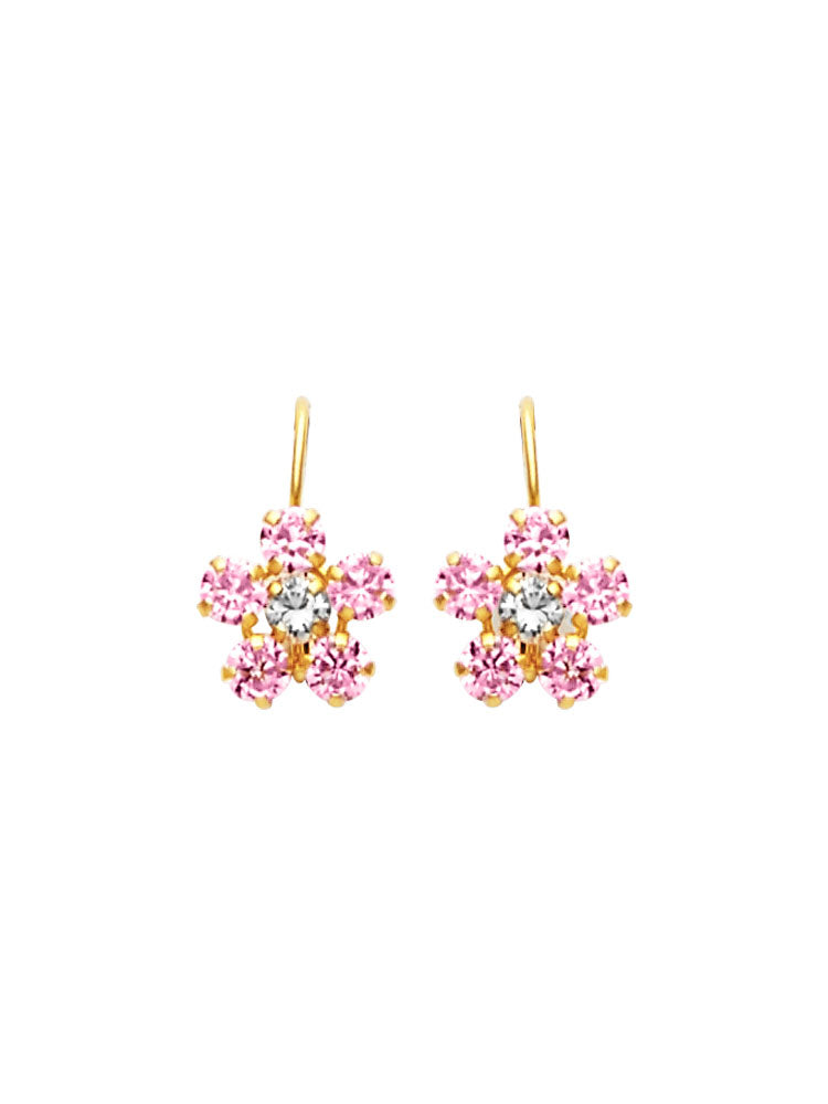 #25589 - 14K Solid Gold Flower Drop Earrings with Pink & White CZ